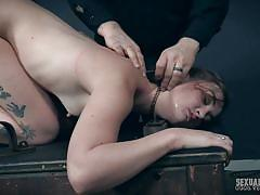 peeing, bdsm, babe, bound, fetish, brunette, device bondage, trapped, pee fetish, sexually broken, kat monroe