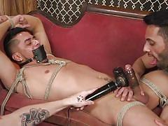 Cesar xes is begging to cum in bdsm threesome action