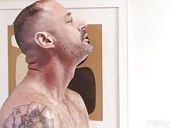 bareback, bathroom, from behind, anal, stepdad, tattooed, family dick