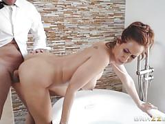 milf, big tits, big cock, latina, blowjob, brunette, from behind, bathtub, standing sex, real wife stories, brazzers, isis love, preston parker
