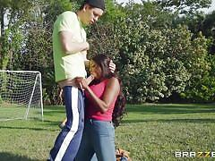 Ebony milf sucks my cock outdoors