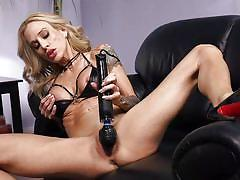 milf, blonde, big tits, high heels, solo, masturbating, tattooed, electric vibrator, fucking machines, kink, sarah jessie