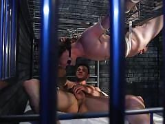 bondage cage, bdsm, handjob, nipple clamps, rope bondage, blowjob, suspended, tattooed, bound gods, kink men, cliff jensen, tony orlando