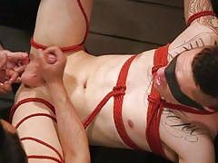 He likes being tied up in order to have a great orgasm