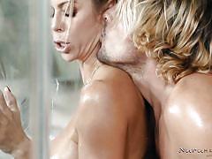 milf, blonde, massage, big tits, big cock, rimjob, blowjob, shower, from behind, nuru massage, nuru network, alexis fawx, tyler nixon