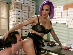 shemale, anal sex, from behind, office sex, rimjob, purple hair, babe, tattooed, ts seduction, kink, ts foxxy, marcelo x