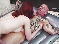 babe, redhead, busty, tattooed, masseuse, riding cock, body slide, oiled massage, nuru massage, nuru network, derrick pierce, alex harper