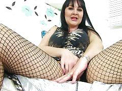 milf, big ass, big tits, high heels, stockings, teasing, black hair, pussy spreading, mature nl, amber leigh