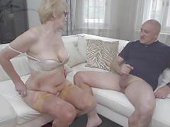 Old rina sucks her husband