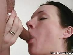 Cute curly haired brunette blowjob