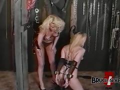 Lesbian beauty whipping and toying inferior milf beauty