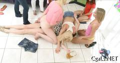college, lesbian, party, blonde, teen, group, toys, haze