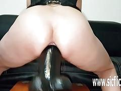Naughty milf pussy devours giant toys