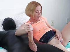 Cute blonde babe jerks latex mans big cock