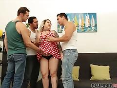 Plump boss kendra lee ryan gets serviced by huge cocks