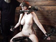 milf, bdsm, big tits, redhead, domination, vibrator, blindfolded, metal bondage, device bondage, kink, lauren phillips