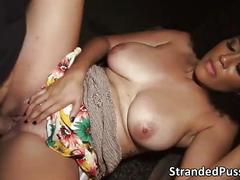 Hottie big tits julie gets hopped in the strangers car and gets pussy fucked