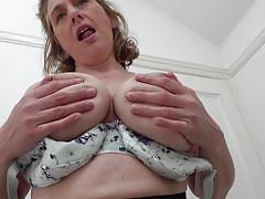 milf, solo, stockings, big boobs, fingering, brunette, undressing, groping tits, mature nl, camilla c.