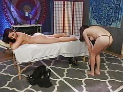 Buxom brunette jasmeen wants a full-service from tranny masseur