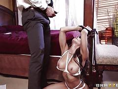 milf, bdsm, big tits, blowjob, fingering, blindfolded, tied up, bald guy, on knees, boobs groping, real wife stories, brazzers network, madison ivy, johnny sins
