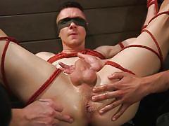 bdsm, handjob, rope bondage, blindfolded, threesome, anal fingering, anal fisting, tattooed, men on edge, kink men, zak bishop