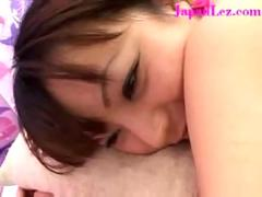 Japanese asian lesbian massage turns intimate