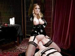 Sensational blonde mistress riding her minion's face