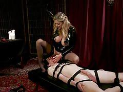 Sensational blonde mistress riding her minion's face