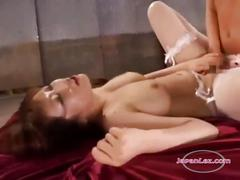 Busty tall girl in stocking fucked with strapon by...