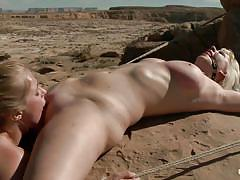 milf, threesome, bondage, bdsm, lesbians, outdoor, lesbian kissing, big dildo, milfs, pussy licking, natural tits, tied up, from behind, anal insertion, blondes, tight pussy, squeezing tits, tight anus, ropes, desert