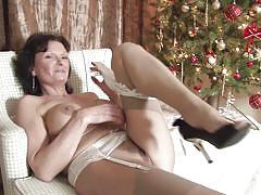 Busty mature mom enjoying her masturbation.