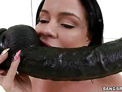 Slutty babe taking the taste of both dildo and dick