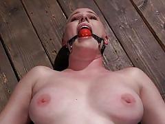 Helpless riley nixon enjoys hard metal bondage