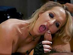 Blonde tranny made her ebony sex slave to suck her cock