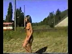 Nude in public  by the tracks