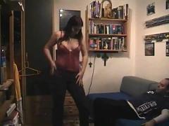 Amateur girlfriend strips and sucks cock in her bedroom