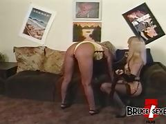 Hot femdom teaches some manners to beautiful sub babe