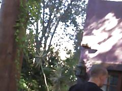 Teen sex slave roughly fucked in the backyard