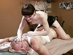 Brunette tranny natalie hits the spot inside d's ass