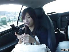 Asian brunette teen fingered after blowing in the car