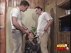 Redhead granny gets lucky with two men