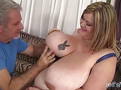 Bbw uses her melons and belly to satisfy a boner