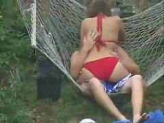 Voyeur spy cam caught young teen couple fucking garden