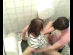 Young couple publicly fucking in toilet