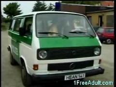 Horny german police fuck in their van