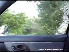 Redhead blowjob in car