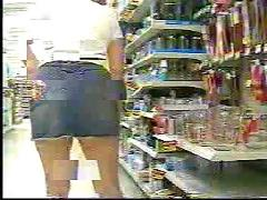 Upskirt blue jean skirt