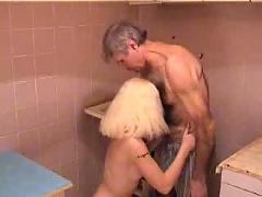 Young college girl licked and fucked by old guy