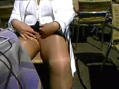 German wife flashing in public cafe