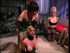 Lesbian group spanking